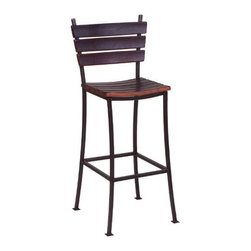"""2 Day - Stave 30"""" Back Bar Stool - Features: -Stave back bar stool. -Available in: -44"""" H size. -38"""" H size. . -Wine barrel oak and steel construction. -Durable iron frame. -Seats made from recently retired oak wine barrel staves. -Frame is gray, not black. Specifications: -Made in USA. -44"""" Bar stool Overall dimensions: 44"""" H x 19"""" W x 19"""" D. -38"""" Bar stool Overall dimensions: 38"""" H x 19"""" W x 19"""" D."""