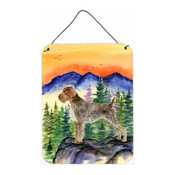 Caroline's Treasures - German Wirehaired Pointer Aluminium Metal Wall Or Door Print - Great for inside or outside these Aluminum prints will add a special touch to your kitchen, bath, front door, outdoor patio or any special place.  12 inches by 16 inches and full of color.  This item will take direct sun for a while before it starts to fade.  Rust and Fade resistant.  Aluminum Print with Hanging Rope.  Rounded Corners.