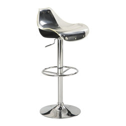 Global Furniture USA - M250BS White & Black Acrylic Chromed Adjustable Bar Stool Set of Two - The M250BS bar stool features a unique modern design that works for any decor it's placed in. This stool is is crafted with a unique acrylic design of two separate pieces. The seat comes in a white top color and black for the bottom. The stool is height adjustable with a built-in hydraulic mechanism. The base features a foot rest and is crafted of metal with a chrome finish. The price shown includes two stools only.