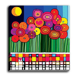 DiaNoche Designs - DiaNoche Canvas Wall Art by Dora Ficher Poppy Love - DiaNoche Designs works with artists around the world to create fabulous and unique home decor products.  Canvas Wall Art is the finishing touch to every home, office, nursery, bedroom and living space.  Each artistic wall hanging is a reprint of an original art piece and comes ready to hang with hooks and a backing for a clean look and feel.  The inks are UV tested to ensure a fade free lifetime and can be cleaned with a damp cloth.  These are VERY sturdy creations that adds a touch of your class!  Choose unframed or a colored black or walnut fram made from a textured recycled plastic.