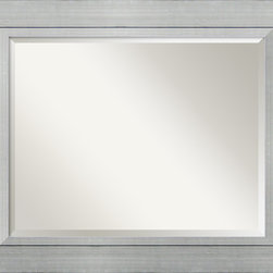 Amanti Art - Romano Wall Mirror - Present a sleek and sophisticated reflection in your home. Clean lines of burnished silver and the accent of a raised inner lip frame this mirror in contemporary elegance ideal for your favorite setting.
