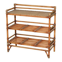 Royola Pacific - Solid Wood w/ Rattan Accent Table Stands, Console Table - Solid wood construction w/ rattan