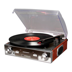 Crosley Radio - Radio Tech Turntable with AM/FM Radio - Belt driven turntable mechanism. Plays 3 speeds - 33 1/3, 45 and 78 RPM Records. Plays 7 in. , 10 in. & 12 in. seconds. Portable audio ready-simply plug in your portable audio device or MP3 player. AM/FM Radio. Analog Tuner. External FM Antenna. Dynamic full range stereo speakers. Auxiliary Input / Output. Headphone Jack. Wood style cabinet. 12 in. L x 12.75 in. W x 5 in. H (5 lbs.)Expect to become obsessed with the superior sound of vinyl after you discover the CR6005A Tech Turntable. The sharp-looking yet user-friendly Crosley plays 33 1/3, 45 and 78 rpm records and even boasts an analog AM/FM radio as well. Built-in stereo speakers make listening simple right out of the box. The mirror face plate, retro wood styling and 1970's-style dust cover adds an element of retro chic to any room in the house. Not that you'll be worried about decor when chords of Bob Dylan's Like a Rolling Stone hum from the turntable's speakers after years of being trapped in a box in the basement.