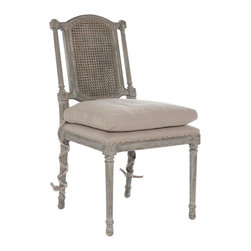 Kathy Kuo Home - Pair Ferrel Antique Gray Shabby French Ballet Ties Dining Side Chair - Open back with dramatic craved details, this beautiful chair is accented with a loose cushion with ballet ties.