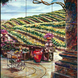The Tile Mural Store (USA) - Tile Mural - The Wine Vendor - Kitchen Backsplash Ideas - This beautiful artwork by Karen Stene has been digitally reproduced for tiles and depicts a vineyard scene.  This garden tile mural would be perfect as part of your kitchen backsplash tile project or your tub and shower surround bathroom tile project. Garden images on tiles add a unique element to your tiling project and are a great kitchen backsplash idea. Use a garden scene tile mural for a wall tile project in any room in your home where you want to add interesting wall tile.