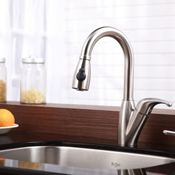 Kraus - Single Lever Pull Out Kitchen Mixer & Soap Di - Update the look of your kitchen with this multi-functional Kraus pull-out faucet. Kraus kitchen faucet blends quality and durability with elegance and style. Faucet. Faucet features 100-percent solid stainless steel construction. Supreme-satin stainless steel finish. Discoloration and corrosion resistant. Features dual stainless steel pull-out spray head with an aerated flow or a powerful spray. Sleek Gooseneck design with pull-down spray head. Spring-tensioned retractable hose. Spout swivels 360-degrees. Contains Sedal drip-free ceramic cartridge. Hermetically sealed with adjustable temperature and flow rate limitation. Single-lever water and temperature control. Single-hole, top-mount installation. Water pressure tested for industry standard. Standard US plumbing connections. 2.2 GPM flow rate. Installation in a 1.375-inch hole. All mounting hardware and hot/cold waterlines are included. Faucet height (overall): 14.5 inches. Spout height: 6.5 inches. Spout reach: 8 inches. Hose measures 24 inches long. ADA compliant. Certified and Listed by UPC, cUPC, CSA, IAPMO, ANSI, SCC and NSF. California AB 1953 compliant. Limited Lifetime Warranty. Soap Dispenser. Soap Dispenser features 100-percent solid stainless steel construction. Easy-push, self-priming pump. Swivels 360 degrees. Refillable from above. Holds 14 ounces of liquid. Measures 3 inches high x 4.5 inches deep. Requires 1.25-inch hole. Limited Lifetime WarrantyInstruction Manual
