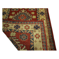 Manhattan Rugs - New Super Kazak HandKnotted Wool Scarlet Veg Dyed Runner 3x9 Geometric Rug H5857 - Kazak (Kazakh, Kasak, Gazakh, Qazax). The most used spelling today is Qazax but rug people use Kazak so I generally do as well.The areas known as Kazakstan, Chechenya and Shirvan respectively are situated north of  Iran and Afghanistan and to the east of the Caspian sea and are all new Soviet republics.   These rugs are woven by settled Armenians as well as nomadic Kurds, Georgians, Azerbaijanis and Lurs.  Many of the people of Turkoman origin fled to Pakistan when the Russians invaded Afghanistan and most of the rugs are woven close to Peshawar on the Afghan-Pakistan border.There are many design influences and consequently a large variety of motifs of various medallions, diamonds, latch-hooked zig-zags and other geometric shapes.  However, it is the wonderful colours used with rich reds, blues, yellows and greens which make them stand out from other rugs.  The ability of the Caucasian weaver to use dramatic colours and patterns is unequalled in the rug weaving world.  Very hard-wearing rugs as well as being very collectable