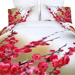Dolce Mela - Luxury Modern Floral Duvet Set Bedding Dolce Mela DM443, King - Celebrate your bedroom's decor with the vivid prints or gorgeous redbud blossom branches pained on your bed and create the utmost refreshing sensation.