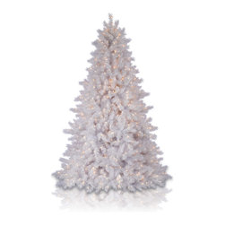 "Balsam Hill - 6.5' Balsam Hill® Classic White Pre-Lit Artificial Christmas Tree - Our Classic White artificial Christmas tree is another one of our most popular & lifelike artificial trees that creates the perfect white Christmas for families everywhere. The 6.5 foot version of this pre-lit easy setup tree will sparkle and dazzle with its Clear warm glow lights. Also included with this tree is a scratch-proof tree stand, soft cotton gloves for shaping the tree, storage bag, extra bulbs and fuses, and an on/off foot pedal for lights. As the best artificial Christmas tree manufacturer that is the #1 choice for set designers for TV shows such as ""Ellen"" and ""The Today Show"", in addition to being a recipient of the Good Housekeeping Seal of Approval, our trees are backed by a 5-year foliage warranty and a 3-year light warranty. Free shipping when you buy today!"