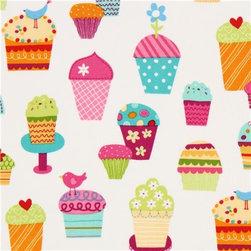 white fabric sundaes & cupcakes Robert Kaufman kawaii - kawaii fabric with many colourful ice cream cups by Lesley Grainger from the USA