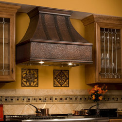 """30"""" Tuscan Series Copper Wall-Mount Range Hood with Riveted Bands - Add the finishing touch to your kitchen with this wall-mount Tuscan Series Range Hood, featuring ornamental bands and rivets. It adds a warm, rustic appeal to your home, while also keeping kitchen air fresh and clean while you cook."""