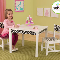 Kidkraft - Kids Table Set Kidkraft Fun and Funky Table and Chair set - Our Fun and Funky Table and 2 Chair Set is the perfect place for your girl and providing hew own space for coloring, playing board games, working on school projects or even enjoying a quick snack. It has Cool Zebra print accents which is Made of wood and have a nice sturdy construction.