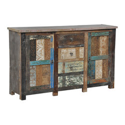 Kosas Collections - Bono Carved 2 Door/ 4 drawer Buffet - Give your home rustic charm when you add this vintage wood buffet to your decor. Constructed from reclaimed wood,this buffet has a distressed finish that creates a vintage,country look to your dining room. The drawers provide extra storage space.