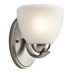 KICHLER - KICHLER 45117NI Calleigh Modern / Contemporary Wall Sconce - This 1 light bath light from the Kichler Calleigh Collection features a satin etched goblet of cased opal glass balancing on an arched and tapered arm in Brushed Nickel providing a clean, crisp contemporary flair. Width: 6, Height: 8, Extention: 7.5, Height from Center of Wall Opening: 4.5. Uses 1 100W max bulb or 1 18-25W CFL. May be installed with the glass up or down. Rated for damp locations.
