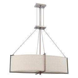 Nuvo Lighting - Nuvo Lighting 60-4456 Portia 6-Light Oval Pendant with Khaki Fabric Shade - Nuvo Lighting 60-4456 Portia 6-Light Oval Pendant with Khaki Fabric Shade (6) 13W GU24 Lamps Included