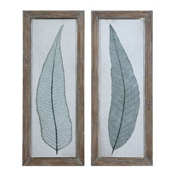 Uttermost - Uttermost Tall Leaves Framed Art Set of 2 - 41514 - Uttermost's art combines premium quality materials with unique high-style design.