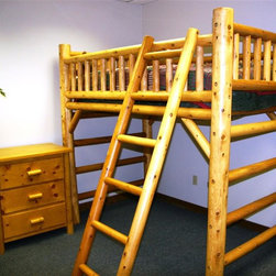 Moon Valley Cedar Works - Twin Loft Bed - Removable safety rails included. Perfect for dorm rooms. Heavy-duty hardware utilized. Outstanding durability. Origin: United States. Pictured in varnished finish. Pictured in Twin loft bed. Made of wood. Weight Capacity: 300 lbs.. 84 in. L x 48 in. W x 77 in. H (109 lbs.). Item is made to order...please allow 4 - 5 weeks for delivery.. Bunk Bed Warning. Please read before purchase.. NOTE: ivgStores DOES NOT offer assembly on loft beds or bunk beds.Perfect for those rooms that need more room! Our sturdy Cedar log loft bed makes any dorm room or small bedroom seem like a master suite.