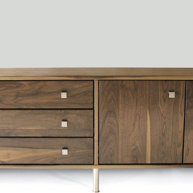 Rowlands Cabinet with 3 Drawers and 2 Doors - This infinitely customizable solid wood cabinet offers a multitude of storage solutions for dining room, living room, office and bedroom.