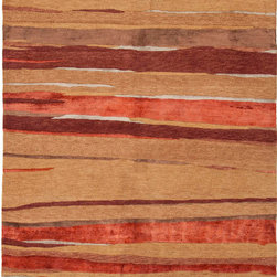 Jaipur Rugs - Hand-Knotted Abstract Pattern Wool/ Art Silk Red/Taupe Area Rug ( 2x3 ) - Hand-knotted in true Tibetan style, the J2 Collection is a study in style and form. Graceful motifs effortlessly dance the line between modern and transitional, possessing a timeless appeal that spans generations. Striking designs and rich color exude the balance of both energy and tranquility that defines the  J2 Collection.