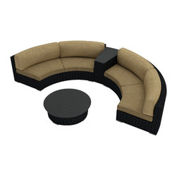 Harmonia Living - Urbana Eclipse 4 Piece Round Sectional Set, Heather Beige Cushions - Create the perfect outdoor gathering with the Harmonia Living Urbana Eclipse 4 Piece Modern Patio Round Sectional Sofa Set with Tan Sunbrella cushions (SKU HL-URBN-E-4SECT-HB), featuring clean curves and brushed aluminum feet. This modern round sofa's seating is a great match for patios with fire pits or circular tables. The seats are made of High-Density Polyethylene (HDPE) wicker infused with a coffee bean color and UV protection, surpassing the quality of natural rattan. Underneath the resin wicker is a thick-gauged aluminum frame, providing superior corrosion resistance. Few curved outdoor sofa sets offer this level of quality at such an affordable price. Fire pit not included.