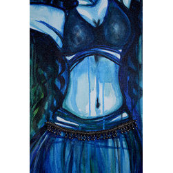 Belly Dancer In Blue (Original) by Kristin Dethlefsen - Monochromatic belly dancer with old Indian payal anklet attached to canvas as part of skirt. Vibrant and full of emotion. Canvas is ready to hang and does not need a frame.