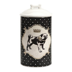 "IMAX - Dog Ceramic Canister Medium - Store all the essentials for your canine friend in this beautiful medium ceramic container with royal graphics. Item Dimensions: (10.25""h x 5""w x 5"")"