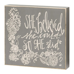 Collins - 'So She Did' Box Sign - Personalize the living space with a piece that shouts with character. This playful box sign is ready to display with a wire hanger and makes any room feel special.   8'' W x 7.5'' H x 1.5'' D Wood Ready to hang Imported