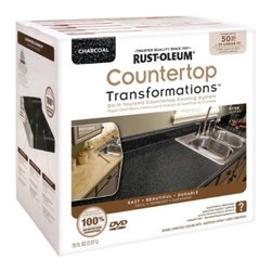 Rustoleum Brands - 258285 Charcoal Countertop Kit - COUNTERTOP TRANSFORMATIONS(R) KIT  Simple, affordable & hassle-free way to -  transform worn or damaged countertop into-  beautiful, durable new counter surfaces  Coating system gives permanent look of -  natural stone products  Just sand, roll, spread, smooth, seal & enjoy  Complete kit of all items needed to transform -  countertops along w/DVD instructions & pamphlet    258285 CHARCOAL COUNTERTOP KIT  COVERAGE:50 Sq. Ft.  Color: Charcoal