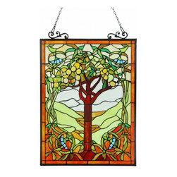 None - Tiffany Style Tree of Life Window Art Glass Panel - This Tiffany style,Tree of Life window panel features 470 pieces of hand cut art glass that will add beauty and color to any room. This window panel brings life and a vibrant mood to whatever space it's placed in.