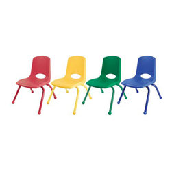 "Ecr4kids - Ecr4Kids Preschool Playroom 12"" Stack Chair Assorted - Matching Legs 6 Pack - Innovative school stack chair features a molded seat with vented back, reinforced ribbing in back and under seat for strength, steel powder coated legs with steel lower back support. No penetration of screws through the seat surface. Composite ball glides for durability and protection on hard floors and carpet."