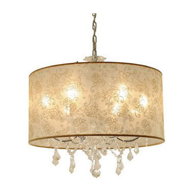 Crystal Union Chandelier by Edge Lighting - Crystal Union chandelier features a patterned ivory silk shade with crystal accents and chrome finish. Available with plain white silk shade.