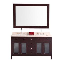 "Design Element - Design Element DEC302A Venetian 60"" Double Sink Vanity Set in Espresso - Design Element DEC302A Venetian 60"" Double Sink Vanity Set in Espresso"