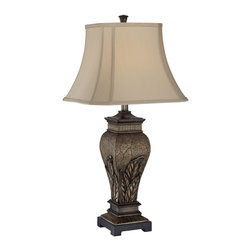 Lite Source - Lite Source C41225 Paulette Table Lamp - Lite Source C41225 Paulette Table Lamp features an aged silver finish with two tone fabric shade. Requires 1 CFL bulb. E27 socket.
