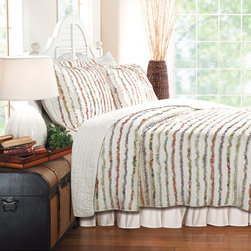 None - Bella Multicolor Ruffled Floral-print Oversized 3-piece Cotton Quilt Set - Ruffles of floral printed fabrics are carefully sewn to an off white background on the face of this quilt set for an antique look and feel. Frayed edges create romantic appeal and brings shabby chic style to any room.