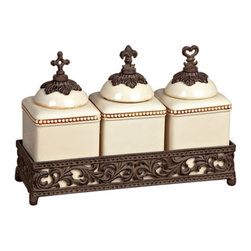 GG Collection - The GG Collection Faith, Hope and Love 3 Jar Set - The GG Collection is best known for elegant wrought iron home