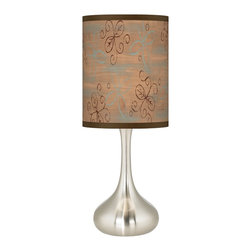 Giclee Glow - Cedar Lake Brushed Steel Kiss Table Lamp - Calling to mind the lakeside cabins of childhood vacations, the Cedar Lake giclee print shade adds country charm to this brushed steel table lamp. Refined simplicity is yours with this modern table lamp design. The metal base offers a graceful sculpted shape thats presented in a brushed steel finish. Topped with a giclee cylinder shade thats custom printed with a stylish Cedar Lake Brushed Steel Kiss Table Lamp pattern. U.S. Patent # 7,347,593.