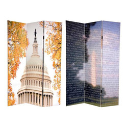 Oriental Furniture - 6 ft. Tall Double Sided Memorial Room Divider - Vietnam/Capitol Building - Honor  the Home of the Brave  with this pair of professional photographs featuring two of the USA's most revered architectural treasures. On the front is a close up of the Vietnam Veterans Memorial Wall, artistically superimposed over a photograph of the Washington Monument. On the back, fall leaves frame the United States Capitol Building, home of the U.S. Congress, a structure considered to be the finest exemplar of American neoclassical architecture. These powerful, emotive, and beautiful images will bring a patriotic accent to any office, clubhouse, entertainment room, living room or bedroom. This three panel screen has different images on each side, as shown.
