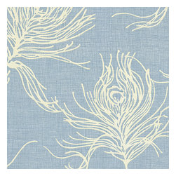 Sky Blue Feather Print Cotton Fabric - Modern print with giant white feathers flating across a striated sky blue cotton ground.Recover your chair. Upholster a wall. Create a framed piece of art. Sew your own home accent. Whatever your decorating project, Loom's gorgeous, designer fabrics by the yard are up to the challenge!