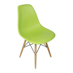 Ariel - Eames Style DSW Molded Lime Green Plastic Dining Shell Chair with Wood Eiffel Le - A truly comfortable chair, the shell dining chair sports a futuristic yet retro look at the same time. Constructed of heavy duty matte finish seats, this stylish chair is perfect for the home office, training room, or play area. Available in multiple colors.