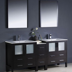 Fresca - Torino Double Sink Bathroom Vanity w Ceramic - Choose Included Faucets: Bevera Chrome - 2 Pcs.P-traps, Faucets, Pop-Up Drains and Installation Hardware Included. Single Hole Faucet Mounts (Faucets Shown In Picture May No Longer Be Available So Please Check Compatible Faucet List). With overflow. Sink Color: White. Finish: Espresso. Sink Dimensions: 19 in. x12 in. x5 in. . Mirror: 25.5 in. W x 31.5 in. H x 1.25 in. D. Materials: Plywood w/ Veneer, Ceramic Sinks w/ Overflow. Vanity: 72 in. W x 18.13 in. D x 33.75 in. HFresca is pleased to usher in a new age of customization with the introduction of its Torino line. The frosted glass panels of the doors balance out the sleek and modern lines of Torino, making it fit perfectly in either Town or Country decor. Available in the rich finishes of Espresso, Glossy White and Light Oak, all of the vanities in the Torino line come with either a ceramic vessel bowl or the option of a sleek modern ceramic undermount sink.