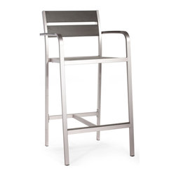 Zuo Modern - Zuo Modern Megapolis Bar Armchair in Brushed Aluminum - Bar Armchair in Brushed Aluminum belongs to Megapolis Collection by Zuo Modern The Megapolis Bar Armchair has a sturdy brusehed aluminum frame and a slatted faux wood seat and back. Barstool (1)