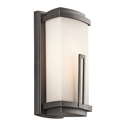 Kichler 1-Light Outdoor Fixture - Anvil Iron Exterior - One Light Outdoor Fixture. This 1 light wall lantern from the soft contemporary Leeds collection is a striking statement for any home. It features a cased opal glass rectangular shade with a distinctive rectangular accent. Width: 6, height: 12. 5, extension: 5, height from center of wall opening: 6. 25. Uses 1 100w bulb or 1 13-15w cfl. Rated for wet locations.