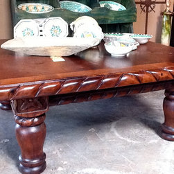 """Furnishing of Mesquite wood - Twisted rope hand carved detail  around this 42"""" square coffee table"""