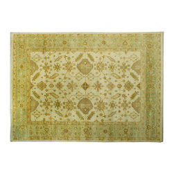 Hand Knotted 10'X14' Natural Dyes 100% Wool Ivory Oushak Oriental Rug SH6578 - Hand Knotted Oushak & Peshawar Rugs are highly demanded by interior designers.  They are known for their soft & subtle appearance.  They are composed of 100% hand spun wool as well as natural & vegetable dyes. The whole color concept of these rugs is earth tones.