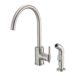 "Danze - Danze D401558SS Kitchen Faucet W/ Spray Stainless Steel - Danze D401558SS Stainless Steel Single Handle High-Rise Kitchen Faucet with Spray is part of the Parma Kitchen collection.  D401558SS 2 hole installation Kitchen Faucet with matching brass side spray has a 9 1/4"" long and 15"" high spout.  D401558SS Single lever handle meets all requirements of ADA.  California and Vermont compliant."