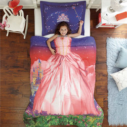 None - Royal Princess 3-piece Comforter Set - Create a unique, royal bedroom theme with this mini comforter and sham set. Crafted with machine washable, ultra-soft microfiber, this plush kids' bedding features a charming princess pattern with a solid reverse that is sure to delight any little girl.