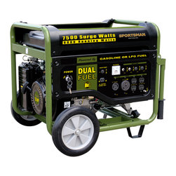 Buffalo Tools - Sportsman Series 7500 Watt Dual Fuel Generator - Great for running the RV while out on the road  or for keeping essential appliances going during a power outage  the Sportsman Series Dual Fuel Generator has the power and flexibility to handle the task. This generator runs on either unleaded gasoline or propane gas  so you can use whichever fuel is more easily available or affordable at the moment. With the Sportsman Series 7500 Watt Dual Fuel Generator  you get the long lasting  clean burning advantage of propane gas  plus the familiar and easy to find benefits of unleaded gasoline.  With 7500 peak watts and 6000 rated watts the Sportsman Series 7500 Watt Dual Fuel Generator is a powerful generator than can handle the needs of most contractors  homeowners and recreational activities. Equipped with four 120 volt outlets  a single 120V RV outlet  a 12 volt DC outlet for battery charging  and a 120/240 volt outlet  this generator can run just about anything. Use the generator right out of the box with the recoil start or install a motorcycle battery (not included) to activate the electric start feature.  The Sportsman Series 7500 Watt Dual Fuel Generator boasts an engine run time of 9 hours at 50% on a common 20Lb (gas grill type) cylinder (LPG cylinder not included) or 6.2 gallons of unleaded gasoline. A 5 foot propane fuel hose with a regulator is included for your added convenience. The 13 HP engine is surprisingly quiet; it runs at less than 80 Db.  The Sportsman Series 7500 Watt Dual Fuel Generator is ideal for anyone who needs affordable  flexible  and portable power. Unfortunately  this model cannot be converted to operate with natural gas.  7 500 peak surge watts and 6 000 rated running watts can run the RV  household appliances  and power tools Great for use while camping  for emergency power during a blackout  or on the jobsite Runs on gasoline or liquid propane fuel  giving you flexibility while out on the road  or during an emergency The 13 HP  4 stroke OHV engine delivers maximum performance  Mobility kit with wheels and handle make is easy to move Recoil or Electric start (when a battery is installed  battery not included) 4-120V outlets  1-120V RV outlet  1-120/240V outlet  1-12V DC outlet   6.2 gallon fuel tank  run time = 9 hrs @ 50% load Decibel rating < 80 db  120/240-volt operation  displacement (CC): 389cc  AVR automatic voltage regulation  low oil shut off  spark arrestor  engine shut off switch  and circuit breaker EPA & CARB approved Propane tank not included