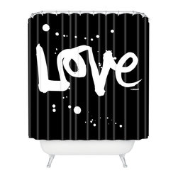 DENY Designs - Kal Barteski Love Black Shower Curtain - Who says bathrooms can't be fun? To get the most bang for your buck, start with an artistic, inventive shower curtain. We've got endless options that will really make your bathroom pop. Heck, your guests may start spending a little extra time in there because of it!