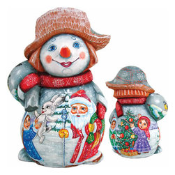 "Artistic Wood Carved Santa Claus and Snowman Sculpture - Measures 7""H x 4""L x 4""W and weighs 1 lb. G. DeBrekht fine art traditional, vintage style sculpted figures are delightful and imaginative. Each figurine is artistically hand painted with detailed scenes including classic Christmas art, winter wonderlands and the true meaning of Christmas, nativity art. In the spirit of giving G. DeBrekht holiday decor makes beautiful collectible Christmas and holiday gifts to share with loved ones. Every G. DeBrekht holiday decoration is an original work of art sure to be cherished as a family tradition and treasured by future generations. Some items may have slight variations of the decoration on the decor due to the hand painted nature of the product. Decorating your home for Christmas is a special time for families. With G. DeBrekht holiday home decor and decorations you can choose your style and create a true holiday gallery of art for your family to enjoy. All Masterpiece and Signature Masterpiece woodcarvings are individually hand numbered. The old world classic art details on the freehand painted sculptures include animals, nature, winter scenes, Santa Claus, nativity and more inspired by an old Russian art technique using painting mediums of watercolor, acrylic and oil combinations in the G. Debrekht unique painting style. Linden wood, which is light in color is used to carve these masterpieces. The wood varies slightly in color."