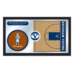 "Holland Bar Stool - Holland Bar Stool Brigham Young Basketball Mirror - Brigham Young Basketball Mirror belongs to College Collection by Holland Bar Stool The perfect way to show your school pride, our basketball Mirror displays your school's symbols with a style that fits any setting.  With it's simple but elegant design, colors burst through the 1/8"" thick glass and are highlighted by the mirrored accents.  Framed with a black, 1 1/4 wrapped wood frame with saw tooth hangers, this 15""(H) x 26""(W) mirror is ideal for your office, garage, or any room of the house.  Whether purchasing as a gift for a recent grad, sports superfan, or for yourself, you can take satisfaction knowing you're buying a mirror that is proudly Made in the USA by Holland Bar Stool Company, Holland, MI.   Mirror (1)"